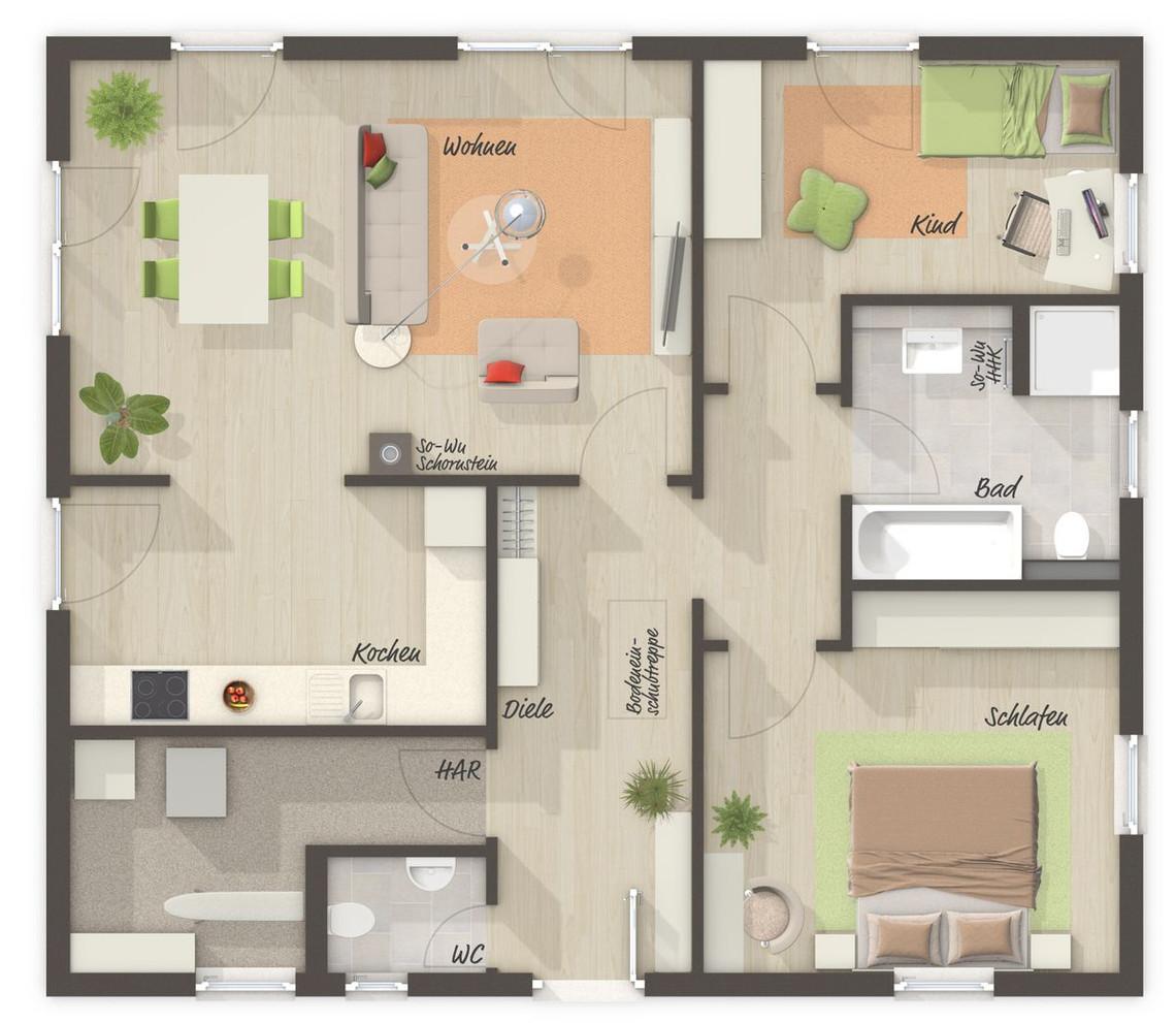 der bungalow 92 trend grundriss bungalow 92 ihr town country massivhaus. Black Bedroom Furniture Sets. Home Design Ideas
