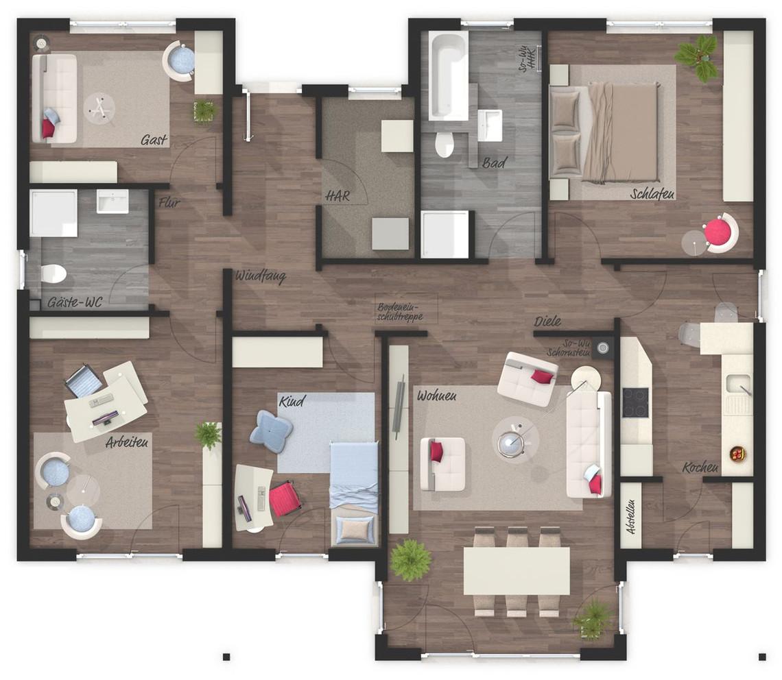 der bungalow 128 elegance grundriss erdgeschoss ihr town country massivhaus. Black Bedroom Furniture Sets. Home Design Ideas